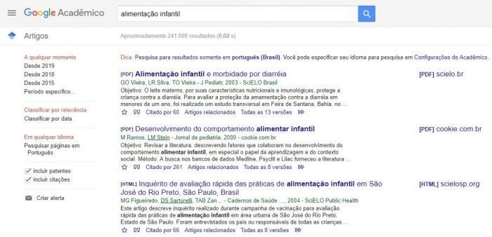 Google Acadêmico para pesquisa